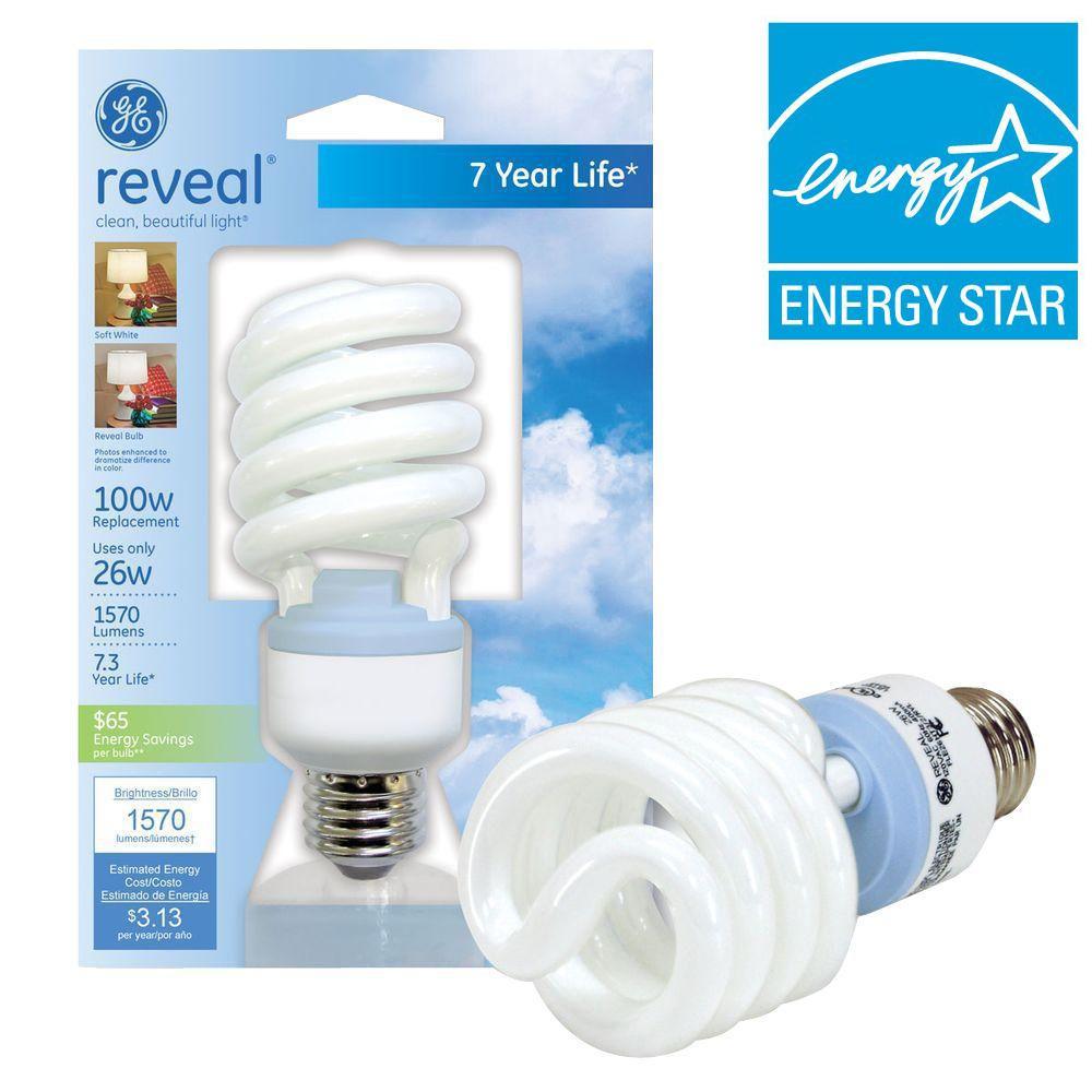 Ge 26 Watt 100w Spiral Compact Fluorescent Light Bulb E Fle26ht3 2 Rvlcd The Home Depot