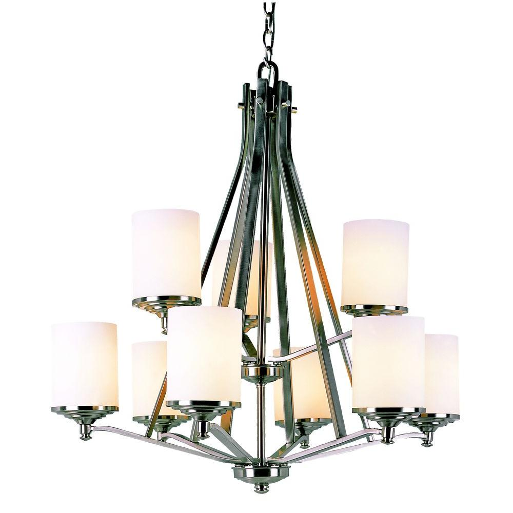 Bel Air Lighting Cabernet Collection 9 Light Brushed Nickel Chandelier With White Frosted Shade
