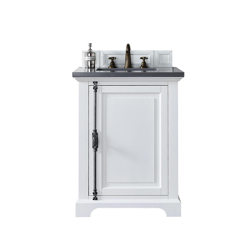 James Martin Vanities Providence 26 in. W Single Vanity in Cottage White with Quartz Vanity Top in Gray with White Basin