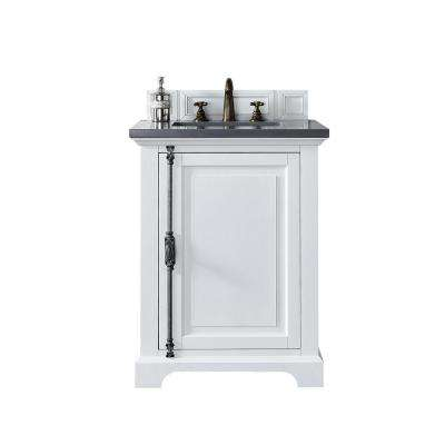 Providence 26 in. W Single Vanity in Cottage White with Quartz Vanity Top in Gray with White Basin