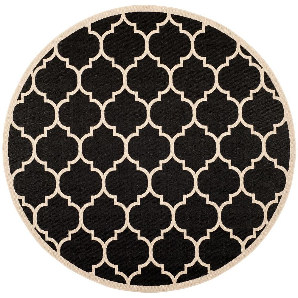 safavieh courtyard black beige 4 ft x 4 ft indoor outdoor round area rug cy6914 266 4r the. Black Bedroom Furniture Sets. Home Design Ideas