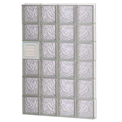 31 in. x 46.5 in. x 3.125 in. Frameless Ice Pattern Glass Block Window with Dryer Vent