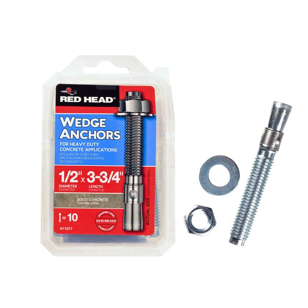 Red Head 1/2 in. x 3-3/4 in. Zinc-Plated Steel Hex-Nut-Head Wedge Anchors (10-Pack)