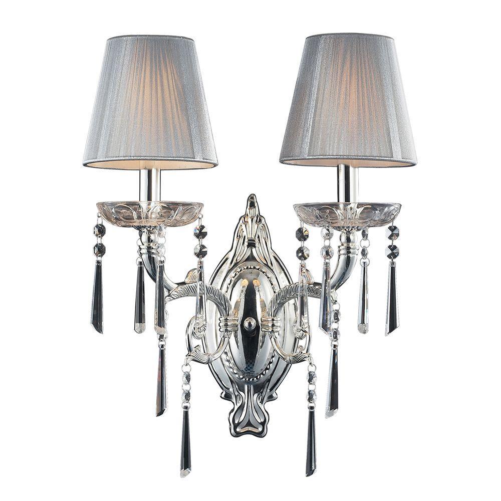 Titan Lighting Princess 2-Light Polished Silver Sconce