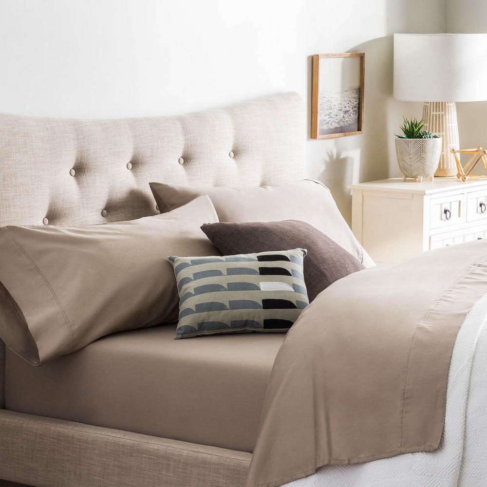 4-Piece Sandstone Cotton Blend Queen Sheet Set
