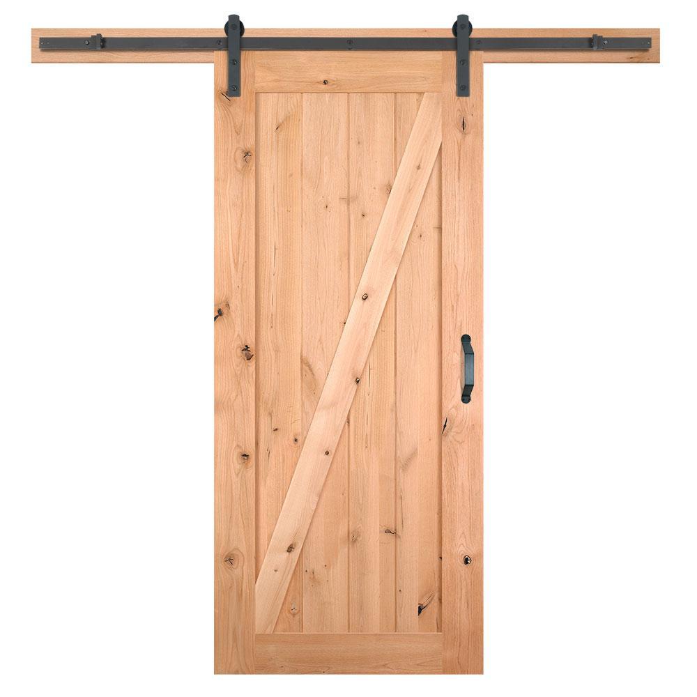 36 in. x 84 in. Z-Bar Knotty Alder Wood Interior Sliding Barn Door Slab with Hardware Kit