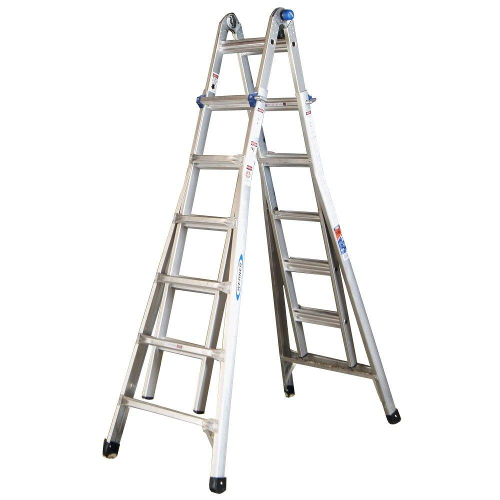 Werner 26 Ft Reach Aluminum Telescoping Multi Position Ladder With 300 Lb Load