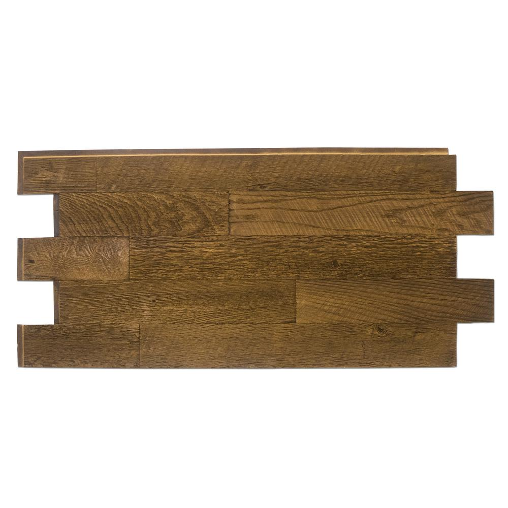Superior Building Supplies Faux Barnwood Panel 1-1/4 in. x 52-1/4 in. x 23 in. Coffee Bean Polyurethane Interlocking Panel Superior's 52 x 24 in. Faux Barnwood Panel (Coffee Bean) is a perfect fit. Install with screws and adhesive, they're lightweight because they're made of high-density polyurethane which makes them virtually maintenance free. No insect pests or rotting to worry about. Provides years of lasting beauty because they're UV protected.