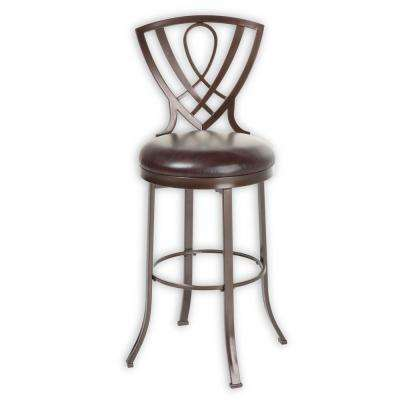 26 in. Lincoln Metal Counter Stool with Chocolate Upholstered Swivel-Seat and Brown Crystal Frame Finish