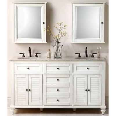 Hamilton 61 in. W x 22 in. D Double Bath Vanity in Ivory with Granite Vanity Top in Grey