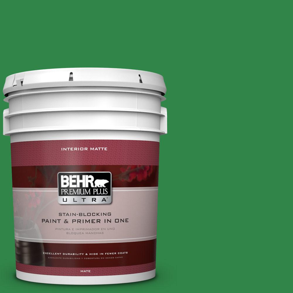 5 gal. #450B-7 Green Grass Matte Interior Paint and Primer in