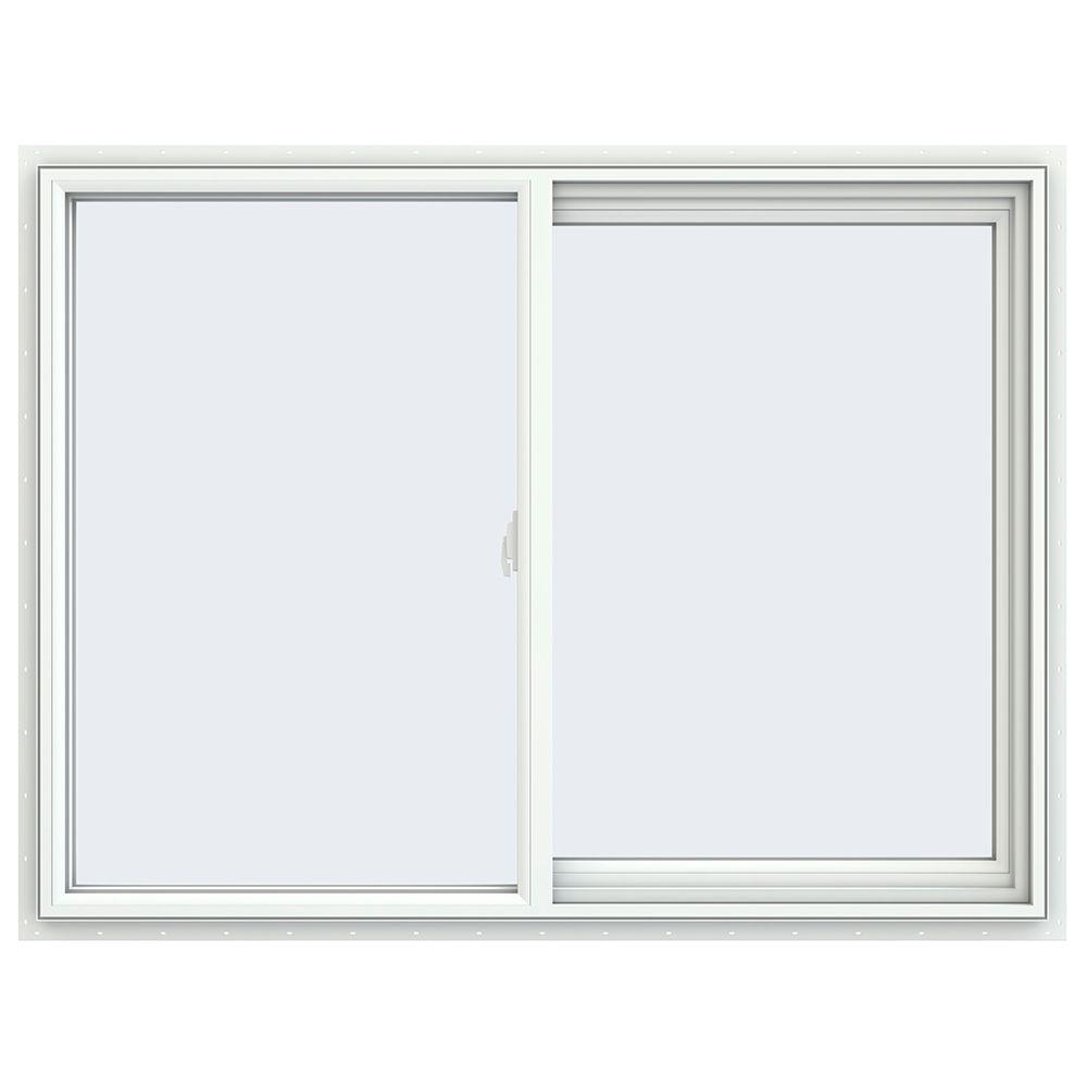 47.5 in. x 35.5 in. V-2500 Series White Vinyl Right-Handed Sliding Window with Fiberglass Mesh Screen
