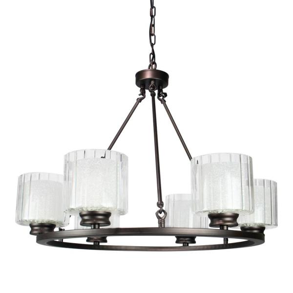 Andmakers Fremont 6 Light Wagon Wheel Chandelier With Glass Shades Cy 8006 961106 Blk The Home Depot