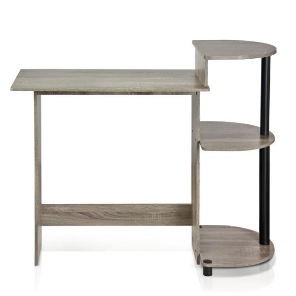 Furinno Compact French Oak Grey Computer Desk 11181GYW/BK