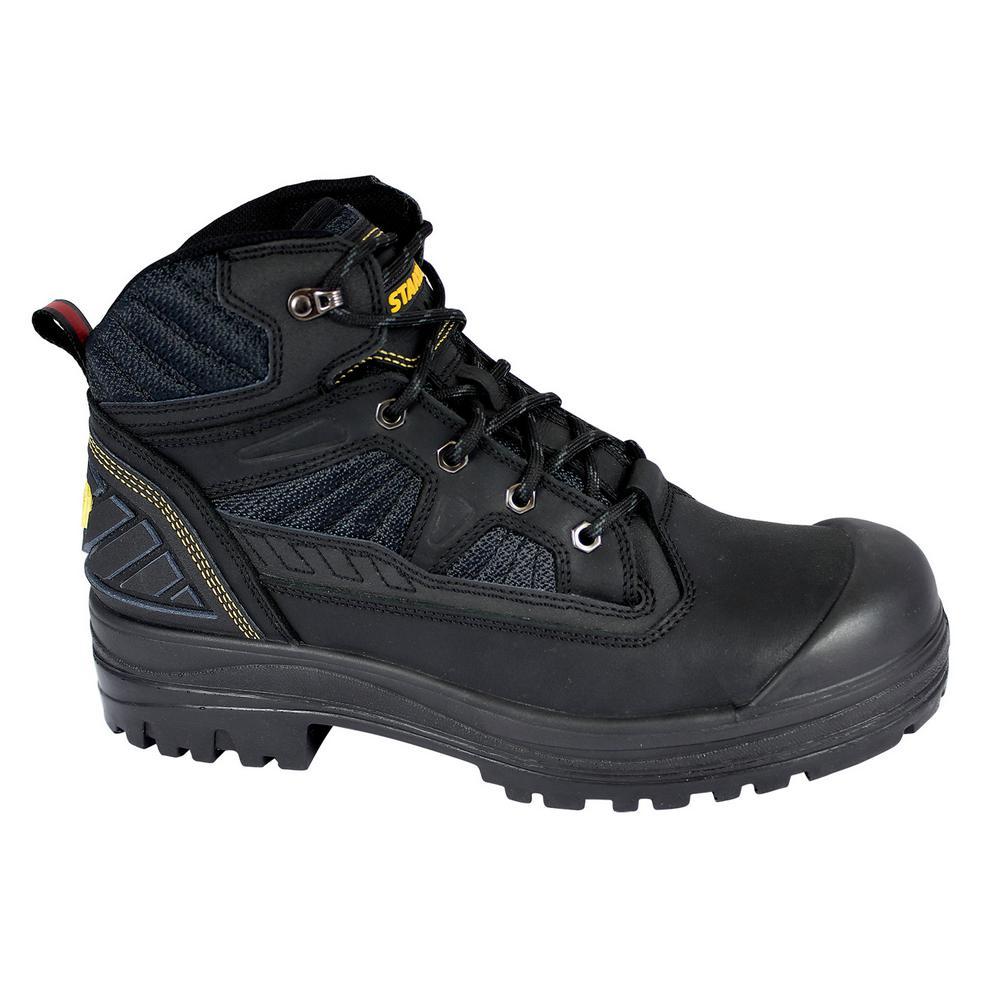 Assure Men 6 in. Size 8 Black Leather/Mesh Steel Toe Work Boot