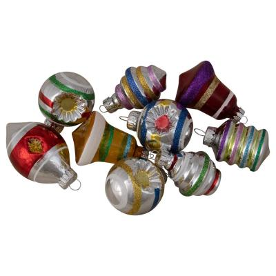 9-Count Shiny Pearl Yellow with Glitter and Solid Striped Finial and Bell Christmas Glass Ornaments 1.75 in. to 2.75 in.