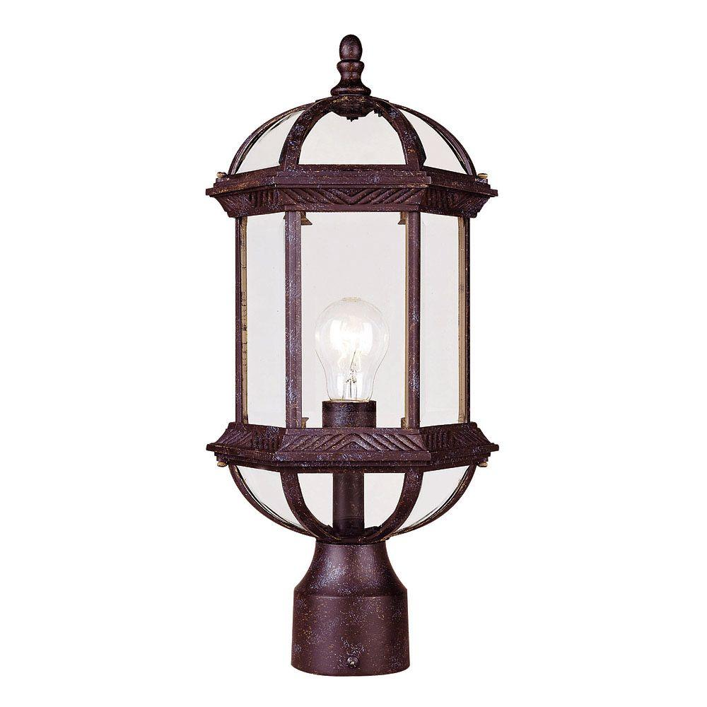 1-Light Post Lantern Rustic Bronze Finish Clear Beveled Glass