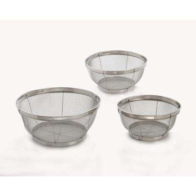 3-Piece Reinforced Stainless Steel Mesh Colander Set