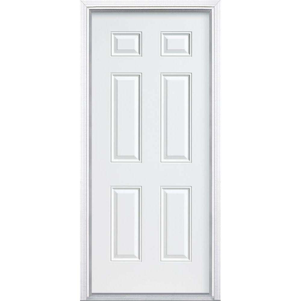 Masonite 30 in. x 80 in. Premium 6-Panel Primed Steel Prehung Front Door with Brickmold