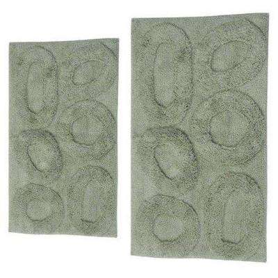 Pebble Light Sage 17 in. x 24 in. and 40 in. x 24 in. 2-Piece Bath Rug Set