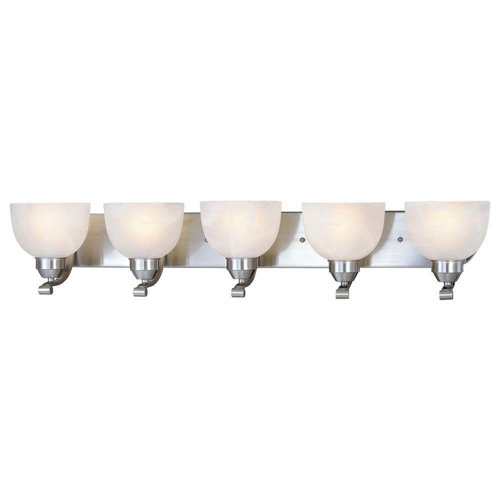 Minka Lavery Paradox 5 Light Brushed Nickel Bath Light 5425 84 The Home Depot