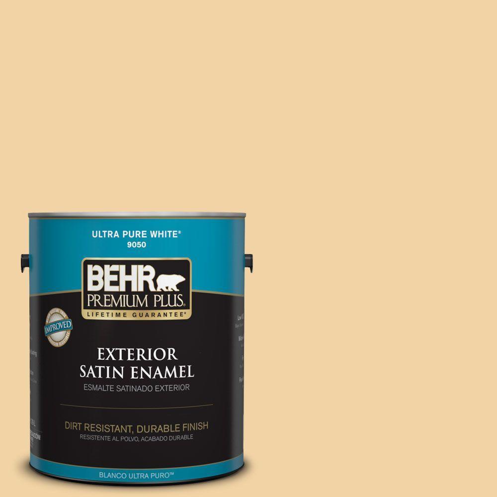 BEHR Premium Plus 1-gal. #ECC-50-1 Sunbath Satin Enamel Exterior Paint