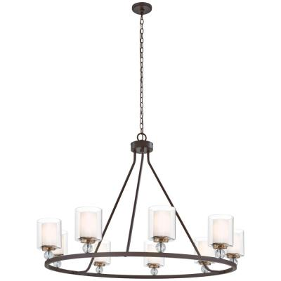 Studio 5 9-Light Painted Bronze with Natural Brushed Brass Chandelier
