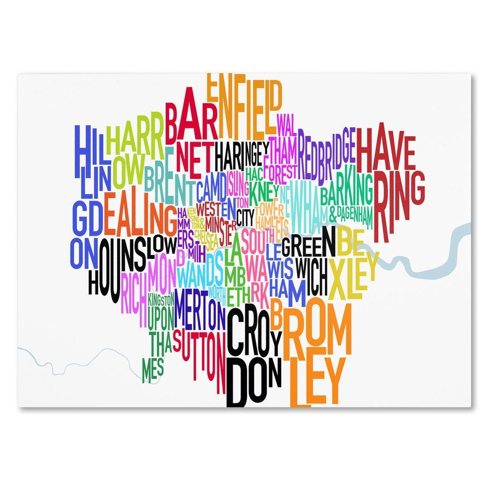 """null 10 in. x 19 in. """"London Text Map"""" Canvas Art"""