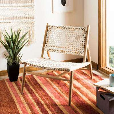 Bandelier Off-White/Natural Leather Accent Chair