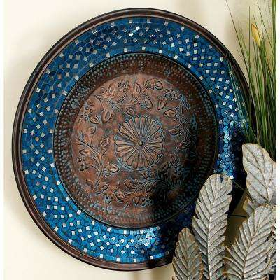 Iron and Glass Copper Brown, Turquoise and Reflective Mirror Mosaic Round Wall Platter