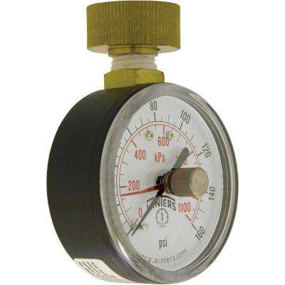 PETM Series 2.5 in. Water Test Gauge with Maximum Pointer and 3/4 in. Female Swivel Hose and Range of 0-160 psi/kPa