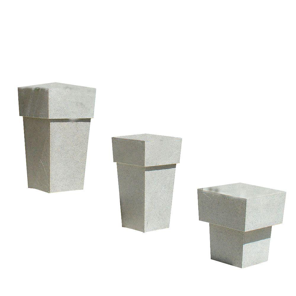 KutStone 15.5 in. Saratoga Speckled Granite Planter Set (3-Piece)