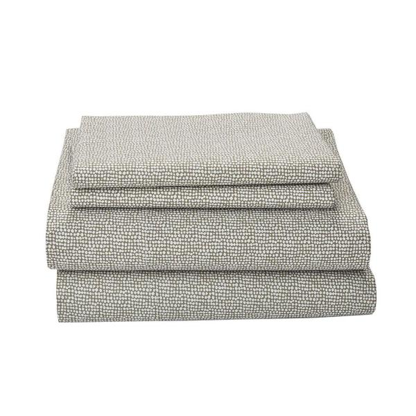 Cstudio Home by The Company Store On Point 4-Piece Taupe Organic Cotton Percale Queen Sheet Set