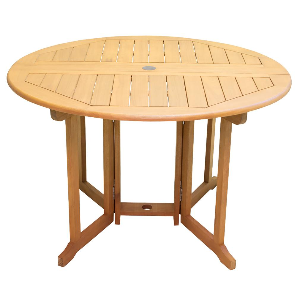 RIO Innovations Newport Collection 47 in. Round Wood Patio Dining Table