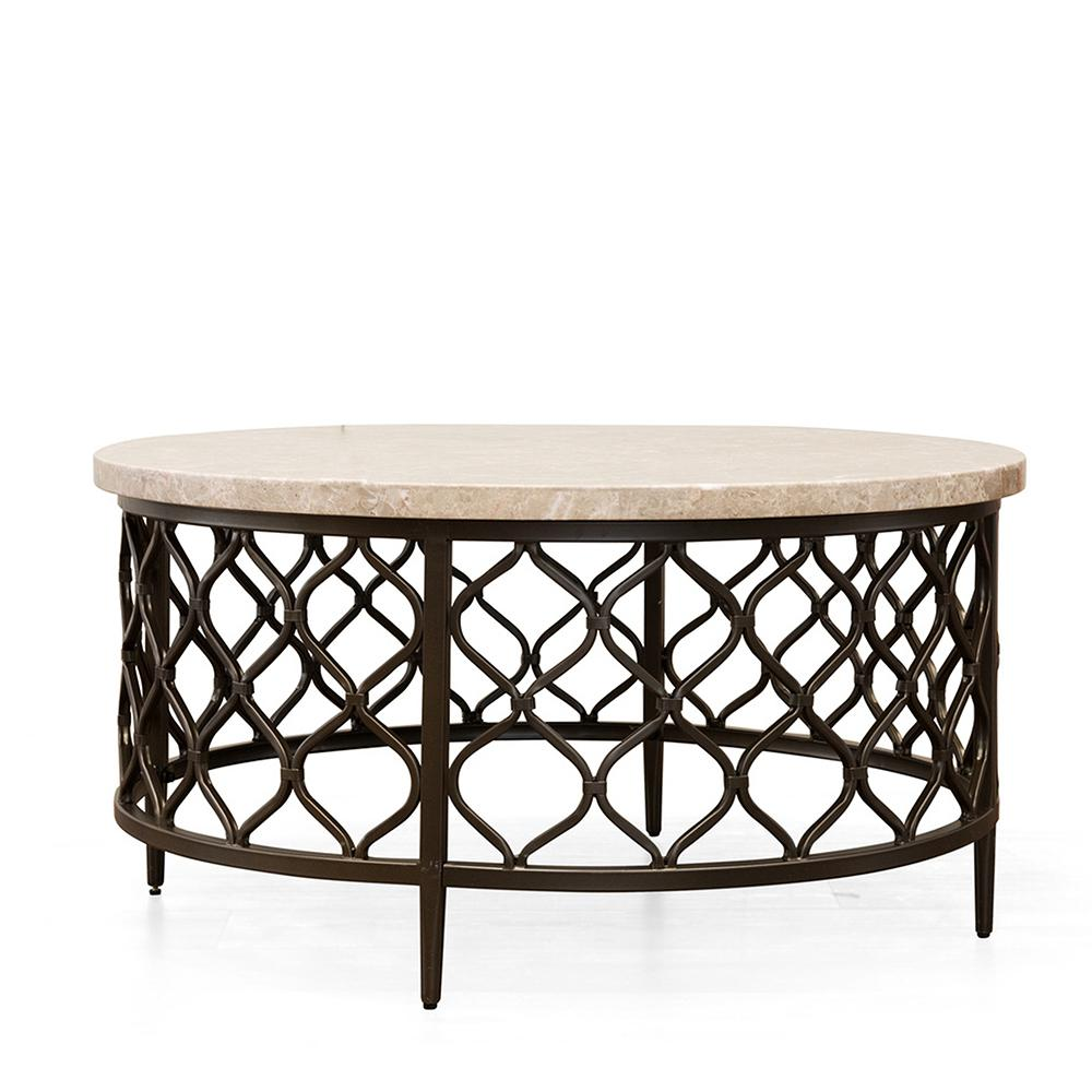 Lovely Roland Cream Marble Top Cocktail Table