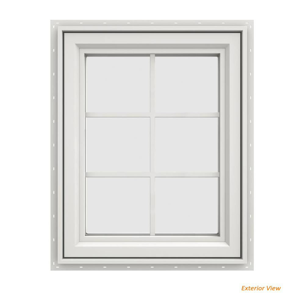 23.5 in. x 29.5 in. V-4500 Series White Painted Vinyl Right-Handed