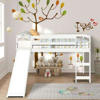 White Wood Twin Loft Bed with a Slide