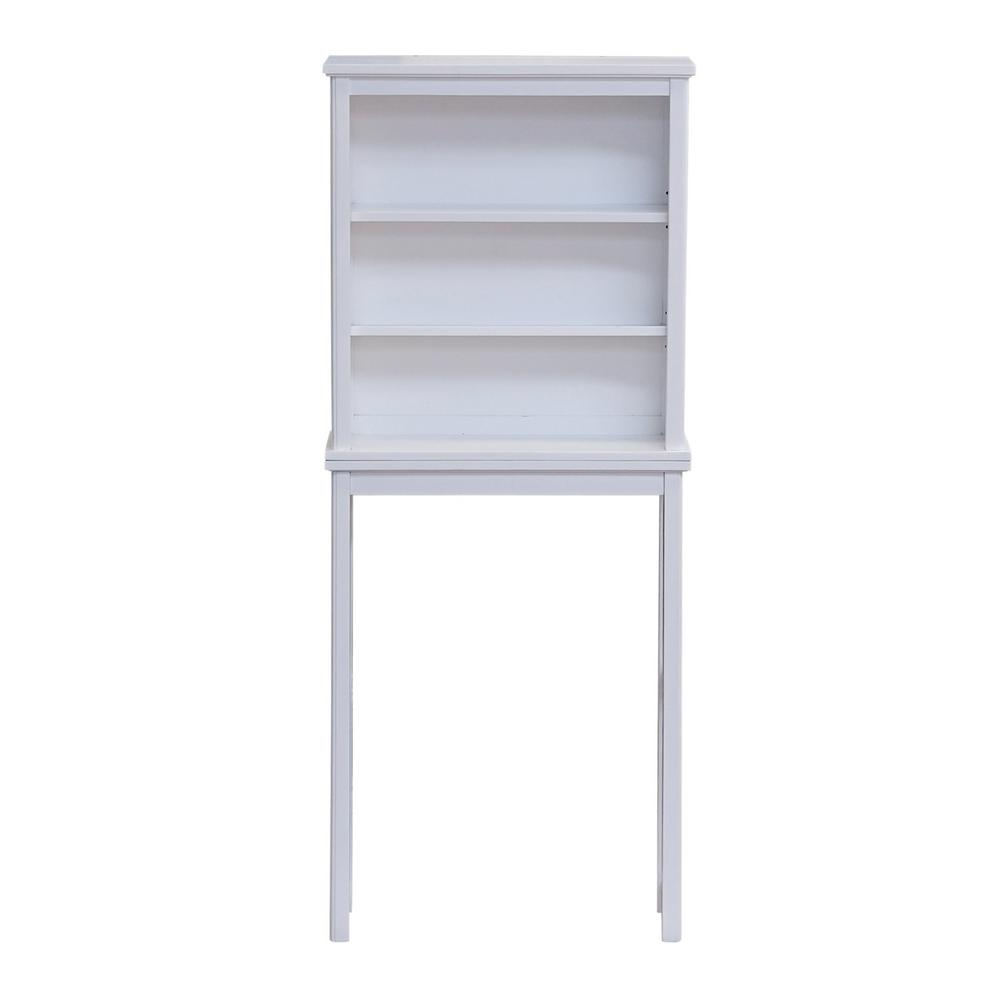 Alaterre Furniture Dorset 27 in. W x 9 in. D x 66 in. H Over the Toilet Space Saver Storage with Open Shelves in White