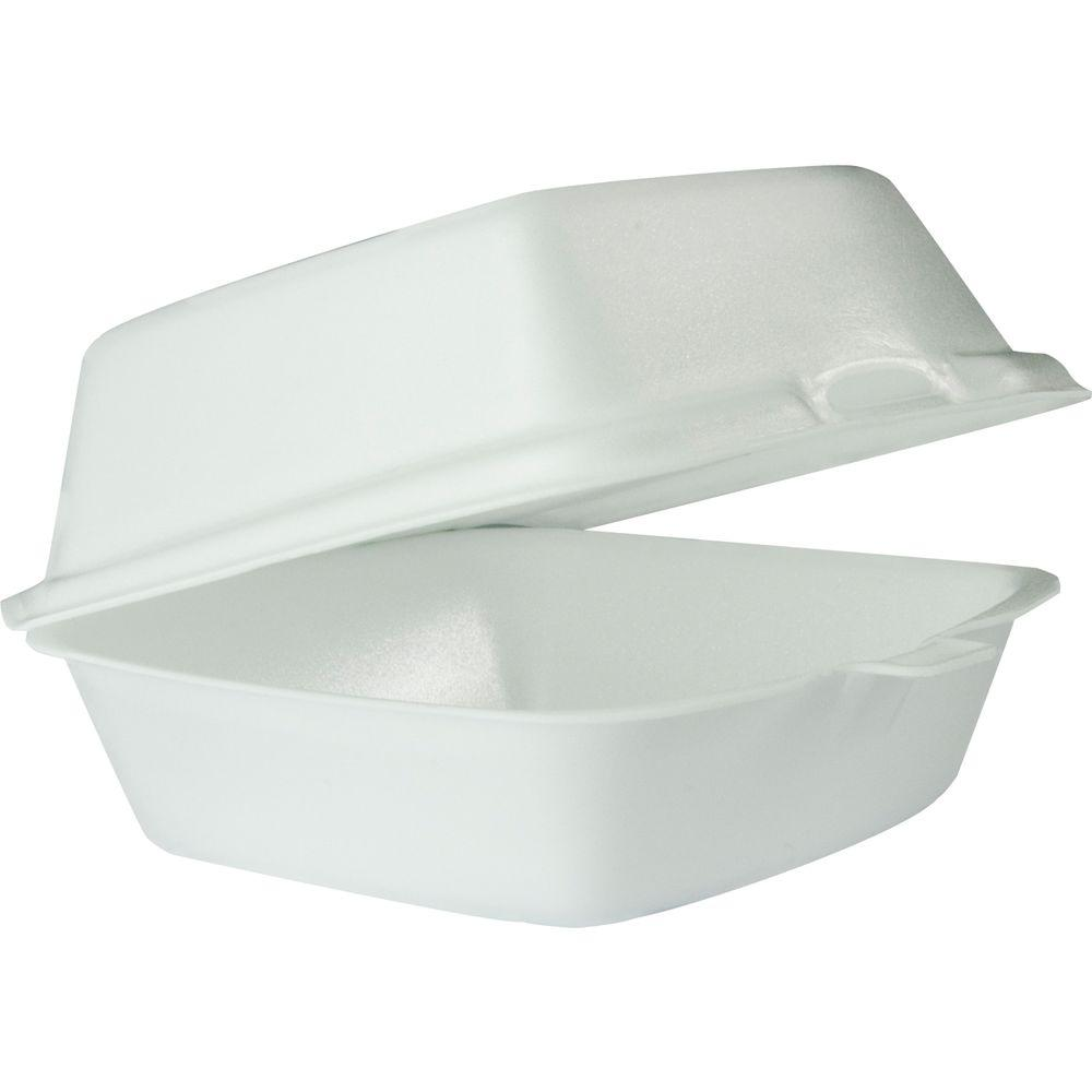 DART Hinged Insulated Foam Carryout Food Container, 5-9/10 in. x 6 in. 3 in., White, 500 per Case