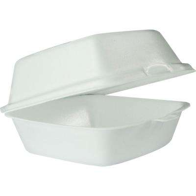 Hinged Insulated Foam Carryout Food Container, 5-9/10 in. x 6 in. 3 in., White, 500 per Case