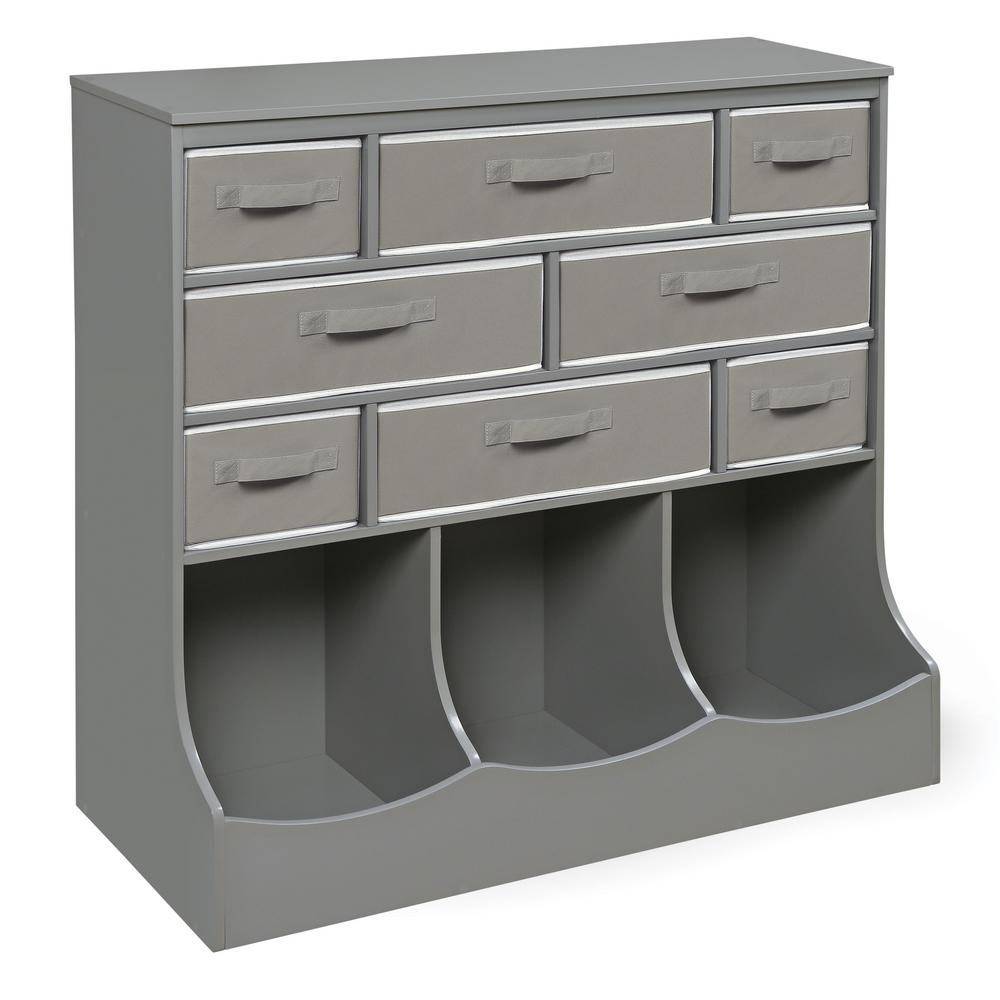 Storage Station 36.5 in. x 37 in. Gray 11-Cube Organizer with
