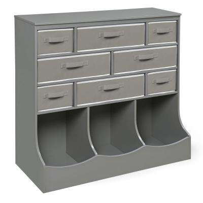 Storage Station 36.5 in. x 37 in. Gray 11-Cube Organizer with 8-Baskets