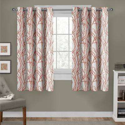 Branches 54 in. W x 63 in. L Linen Blend Grommet Top Curtain Panel in Mecca Orange (2 Panels)