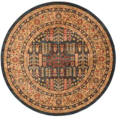 Mahal Navy/Natural 7 ft. x 7 ft. Round Area Rug