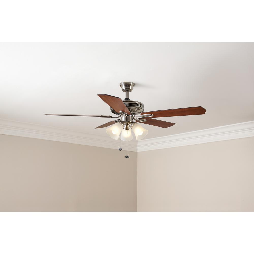 Hampton Bay Glendale 52 in. LED Indoor Brushed Nickel Ceiling Fan with on