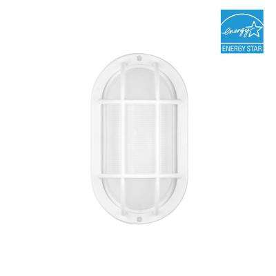 White Outdoor Integrated LED Bulkhead Wall Light