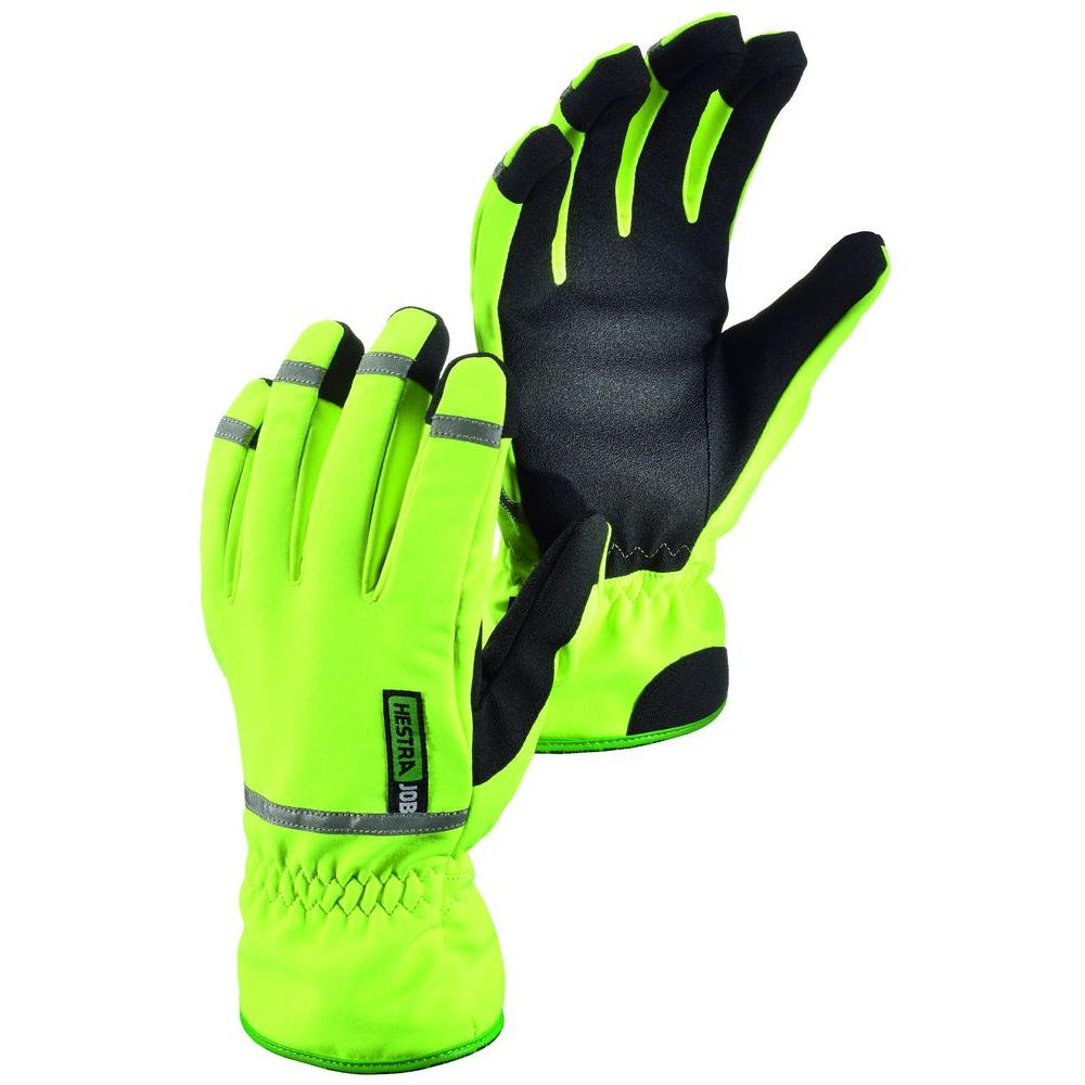 Hestra JOB W.S Turtle Size 8 Medium Cold Weather Hi Visibility 3M Reflective Lined Glove in High Vis Yellow