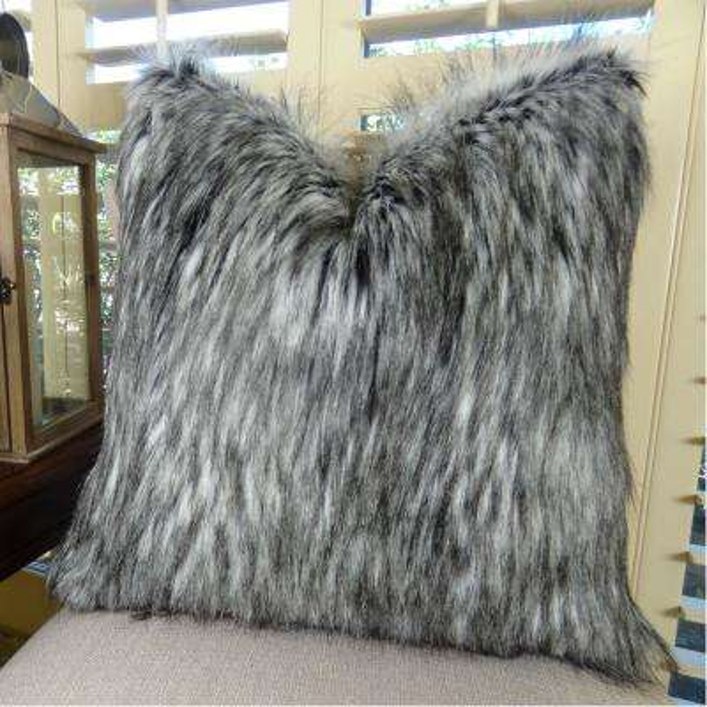 Siberian Husky 12 in. x 20 in. Gray White Black Hypoallergenic Down Alternative Handmade Throw Pillow