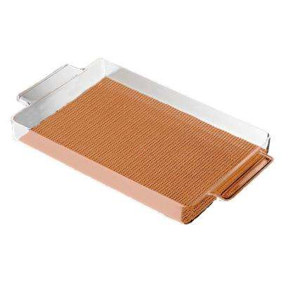 Fishnet Rectangular Serving Tray in Toffee