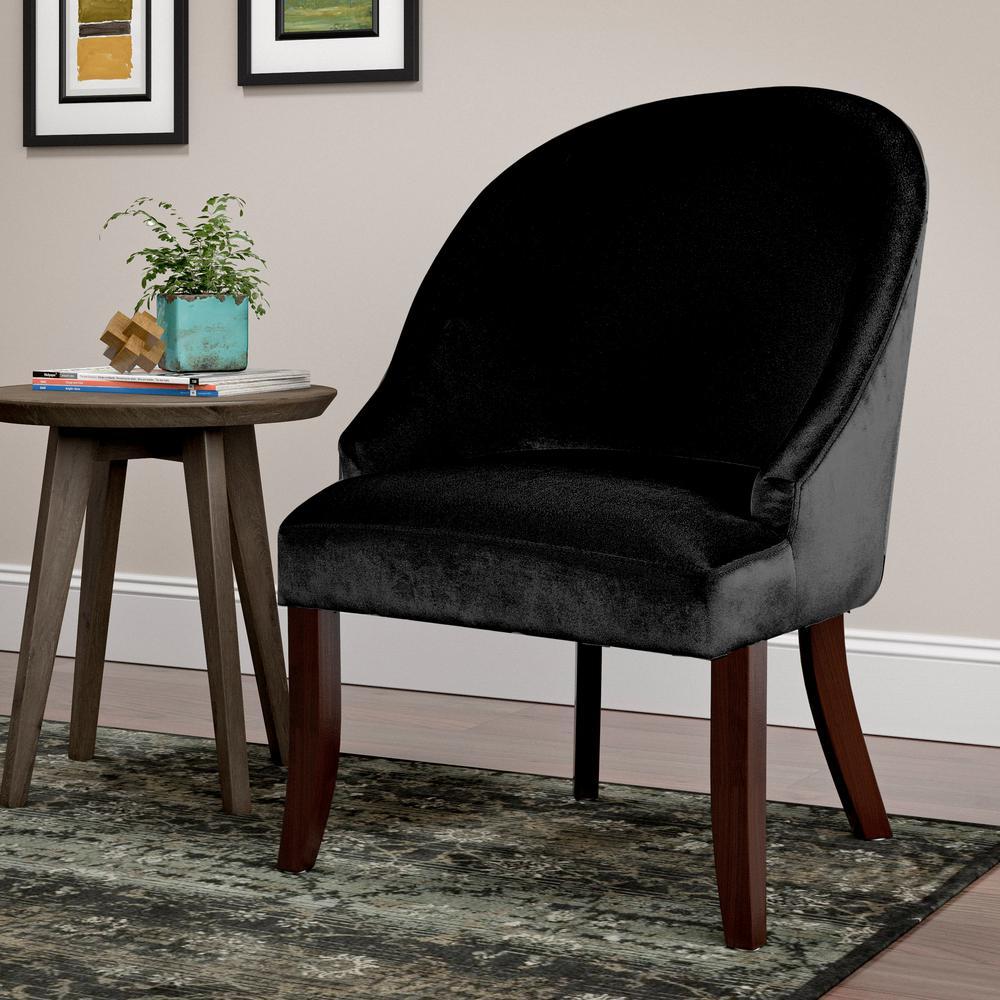 Antonio Black Velvet Curved Accent Chair